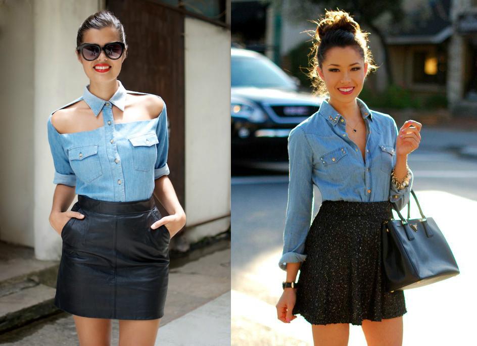 Голубой рубашка и черная юбка