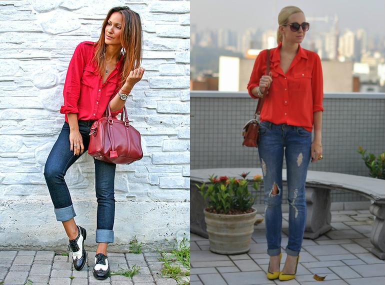 Фото девушек с красными брюками зади