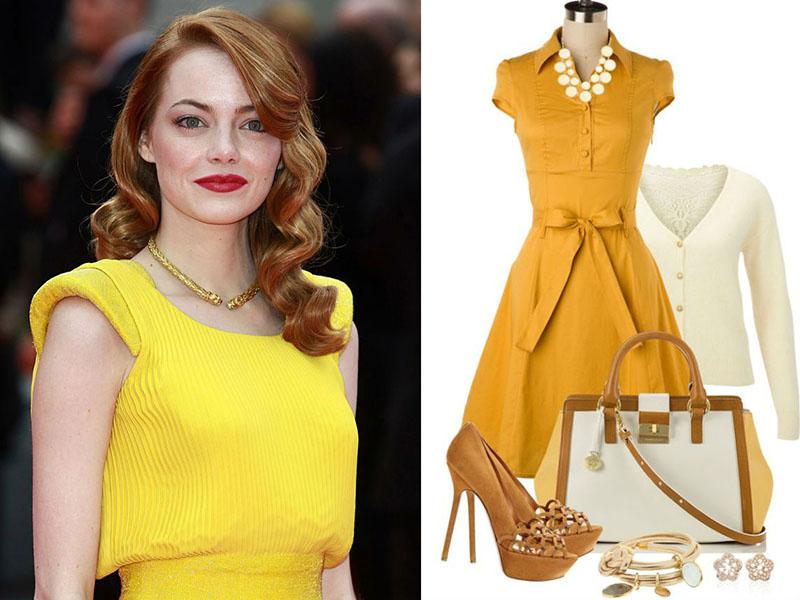 Макияж при лимонном платье