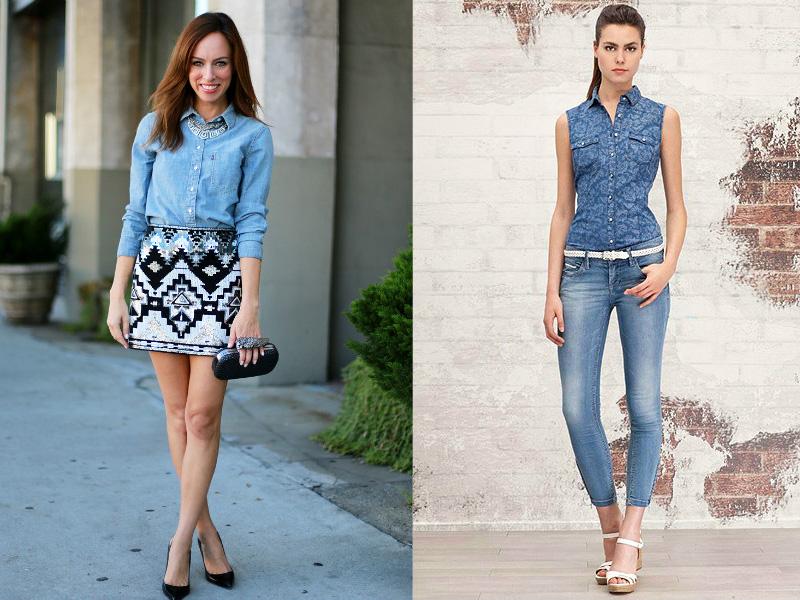 Женские джинсовые рубашки на 2018 года: фото модных моделей