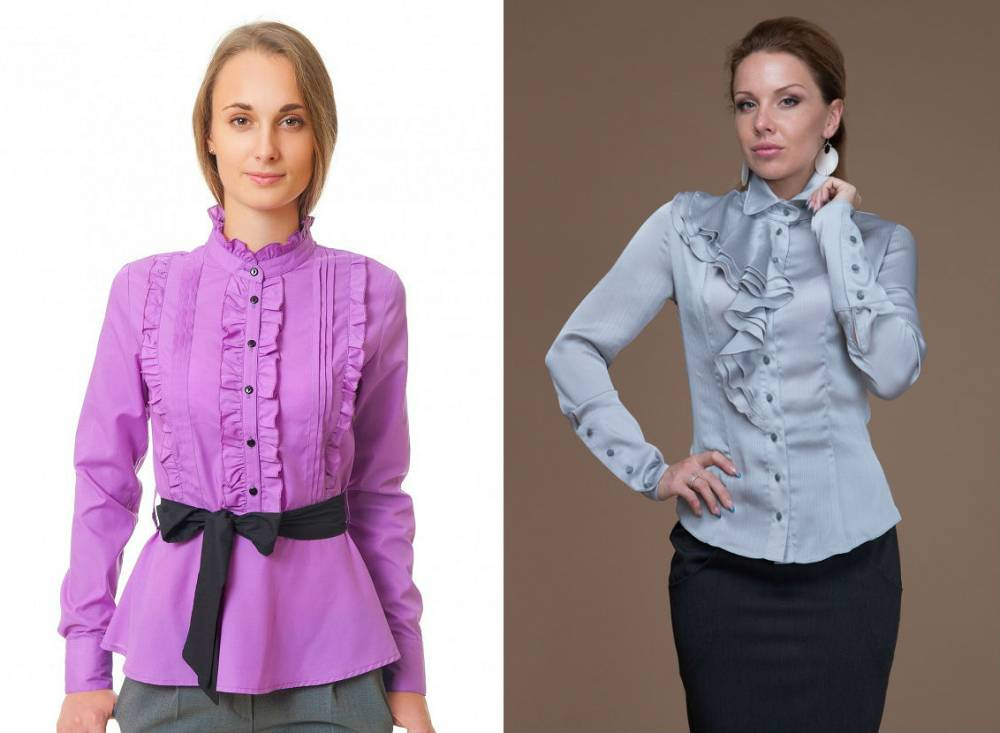 Блузки с рюшами и воланами