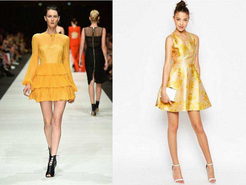 Бежевые платья с желтым