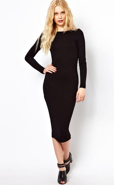 Облегающие черное платье до колен