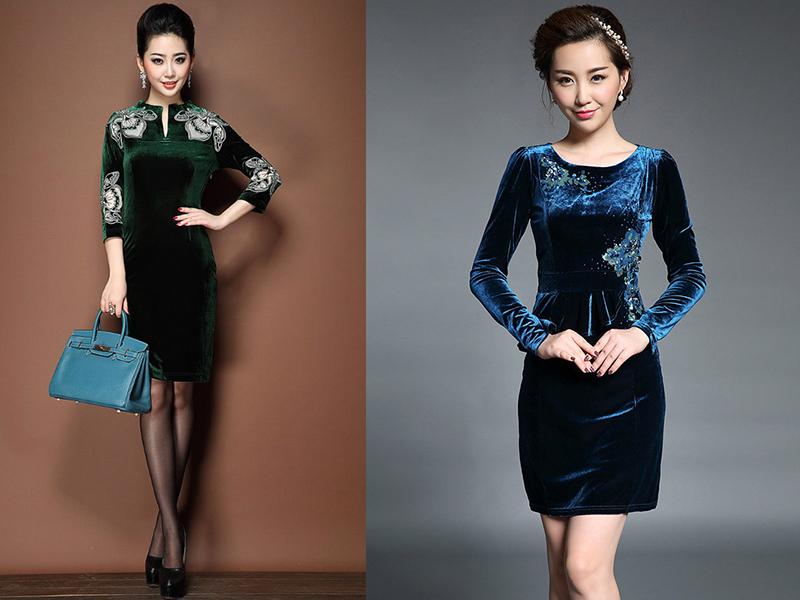 Красивые фасоны платье из велюра