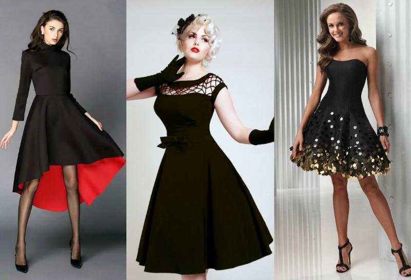 Сочетание черного платья с цветами