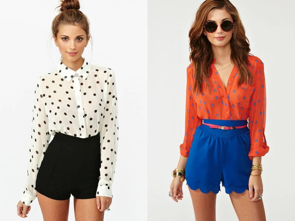 Блузка в горошек и юбка фото
