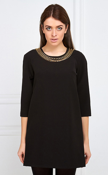 Платье черное а-силуэта