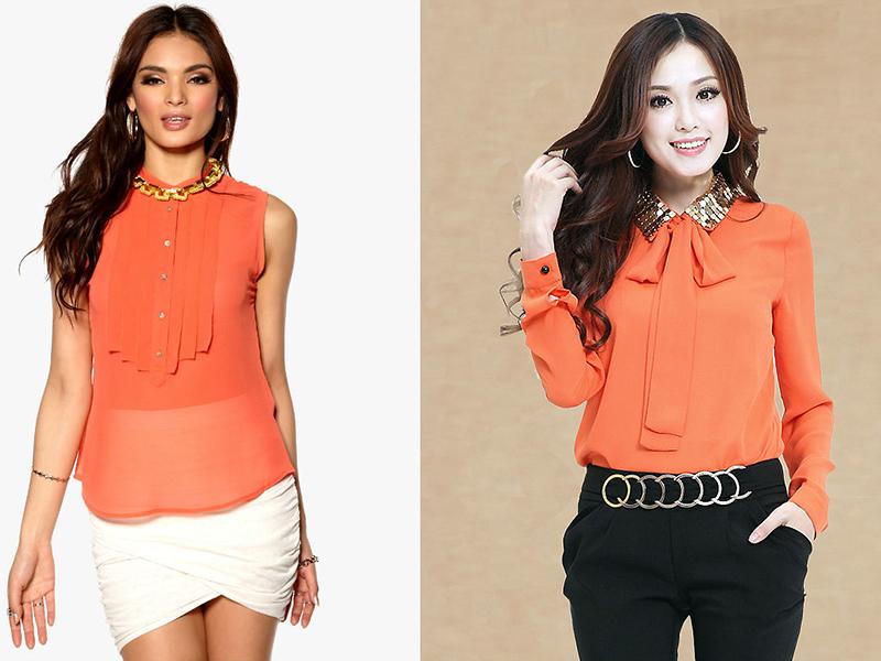 Купить Блузку Оранжевую