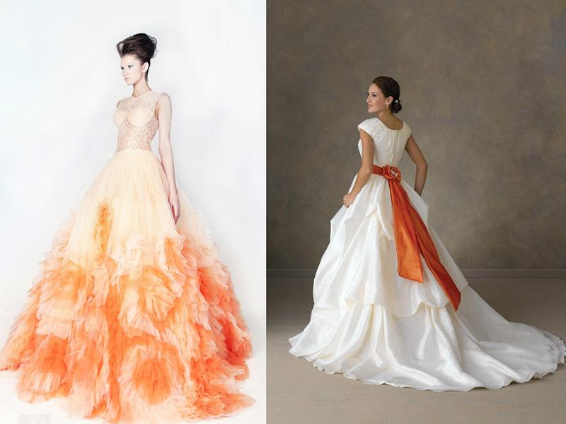Свадебное платье оранжевый