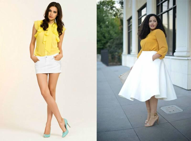Синяя блузка желтая юбка