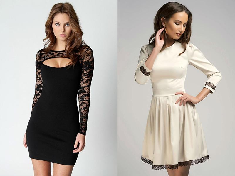 Вставки из гипюра в платье