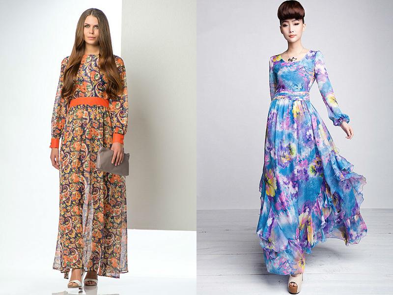 Сшить платьев в пол с длинными рукавами
