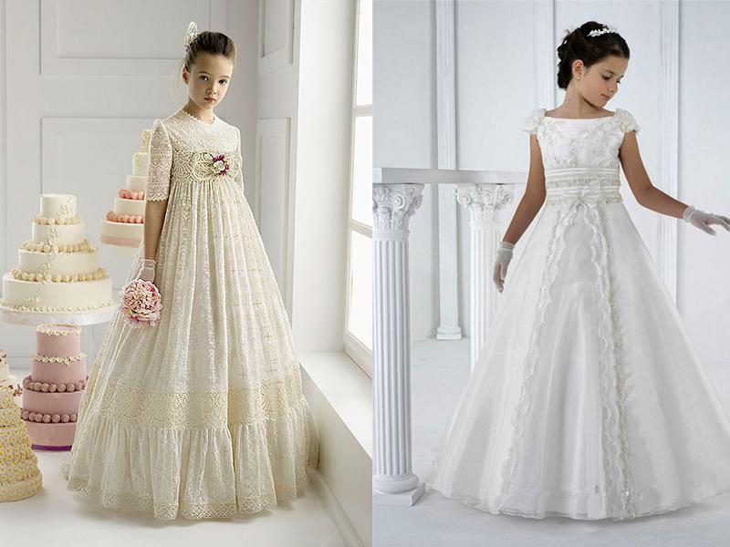 Белое платье в пол для девочек