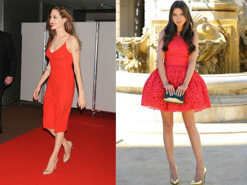 Красное платье с бежевыми туфлями фото