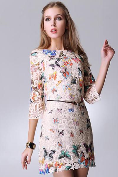 Платья из ткани с бабочками