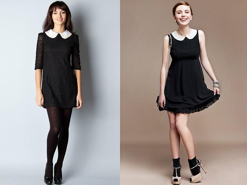черное платье с белым воротником и манжетами купить в москве