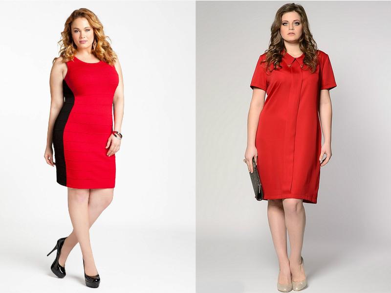 Платье черное с красным для полных