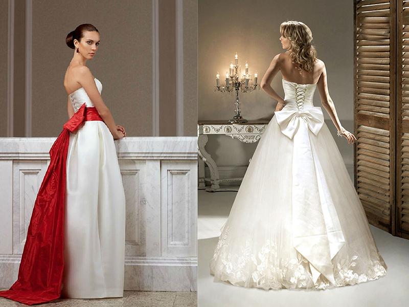 Платье свадебное сзади с бантом