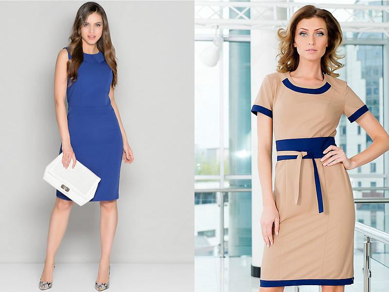 Платье однотонное с отделкой