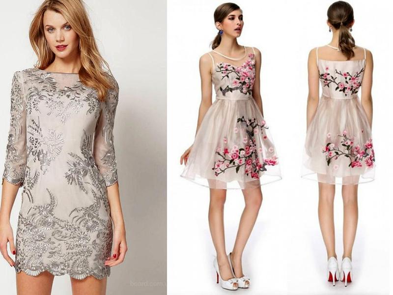Шелковые платья с вышивкой