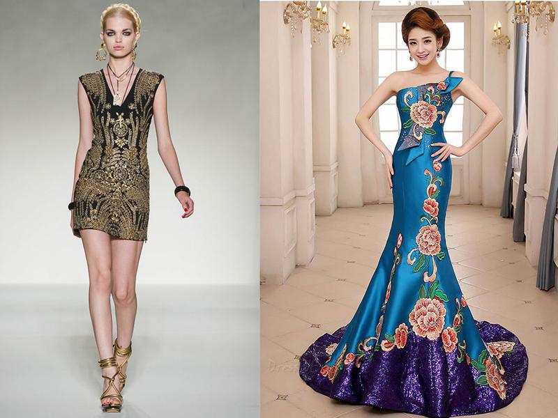 Платье шелк с вышивкой