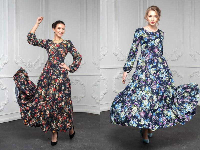Платье с длинным рукавом и пышной длинной юбкой сшить