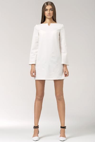 Белое короткое прямое платье