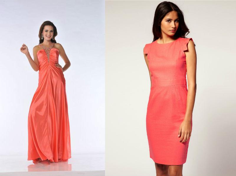Коралловое платье создаст нежный и женственный образ