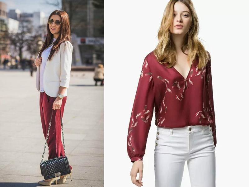 Сочетание в одежде цвета марсала