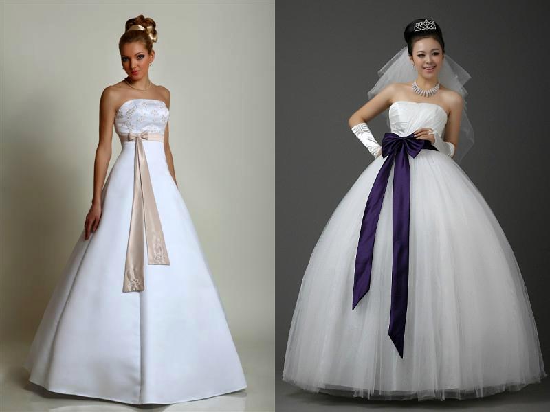 Свадебное платье черный бант
