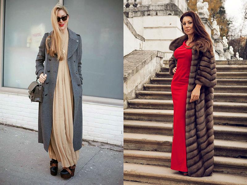 Что носить сверху длинного платья