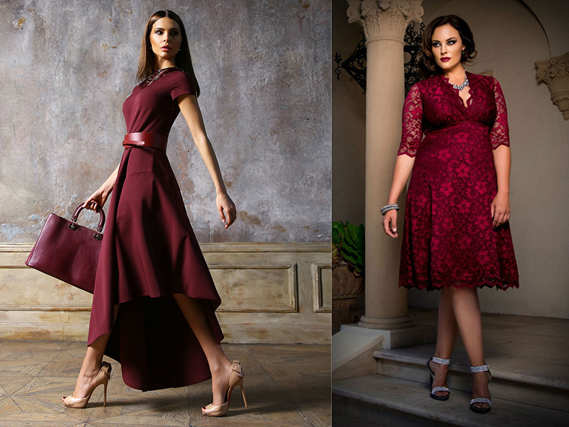 Платья цвета марсала для полных