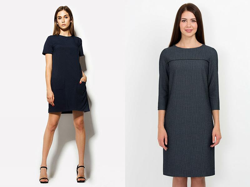 Черное платье прямое короткое