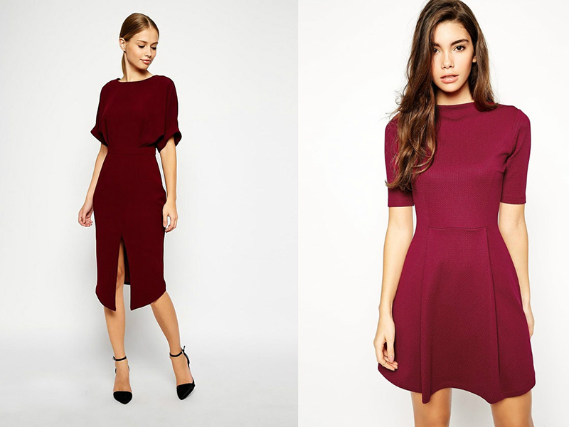 Платья в бордовом цвете