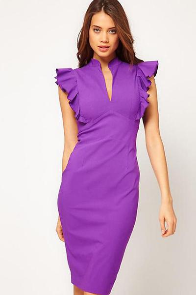 Летнее платье фиолетового цвета