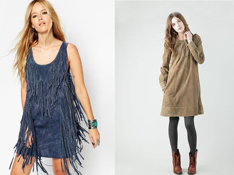 Модели платьев из замши