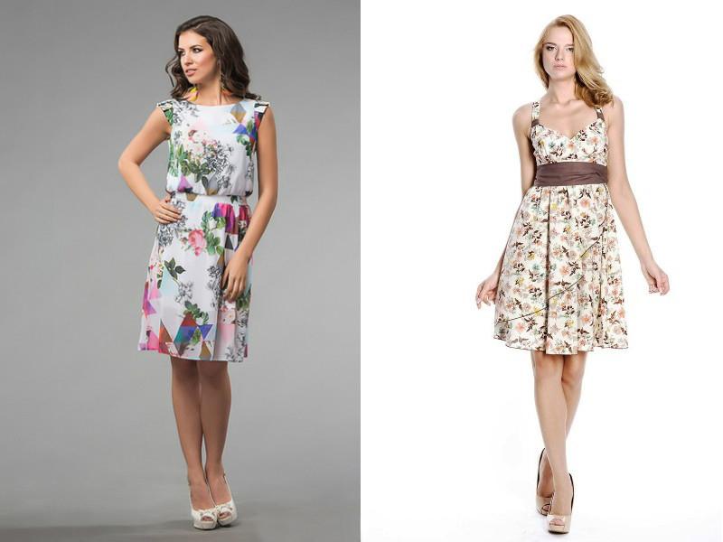 Платья из цветного материала
