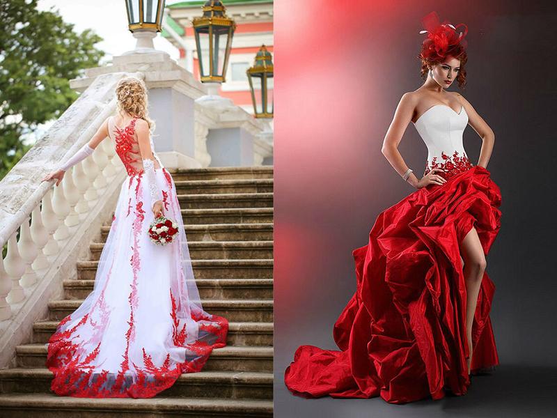 Свадебное платье с красным кружевом фото