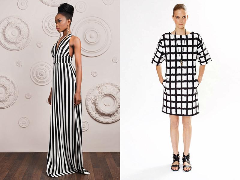 Платье черно белые полосы