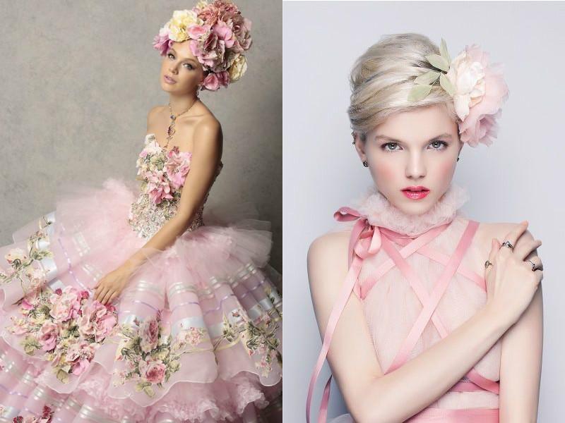 Платье пудрового цвета макияж