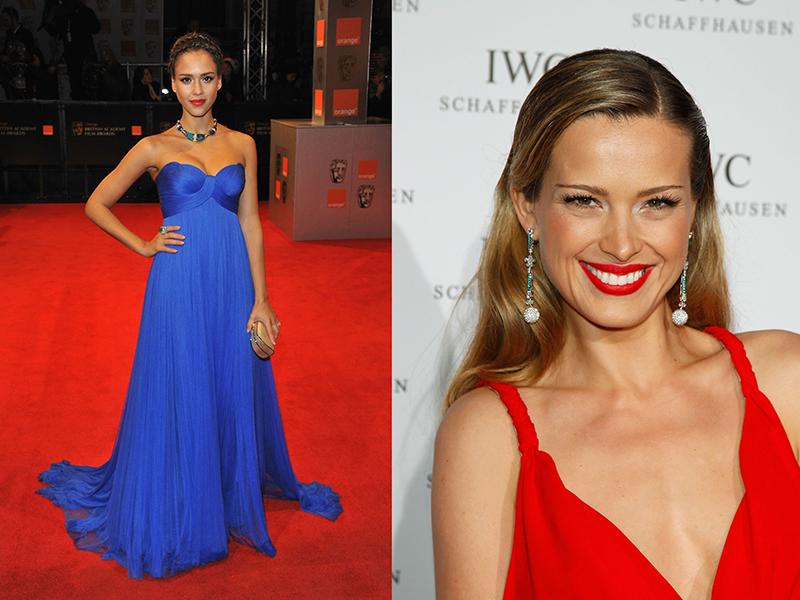 Прическа под синее платье в пол фото
