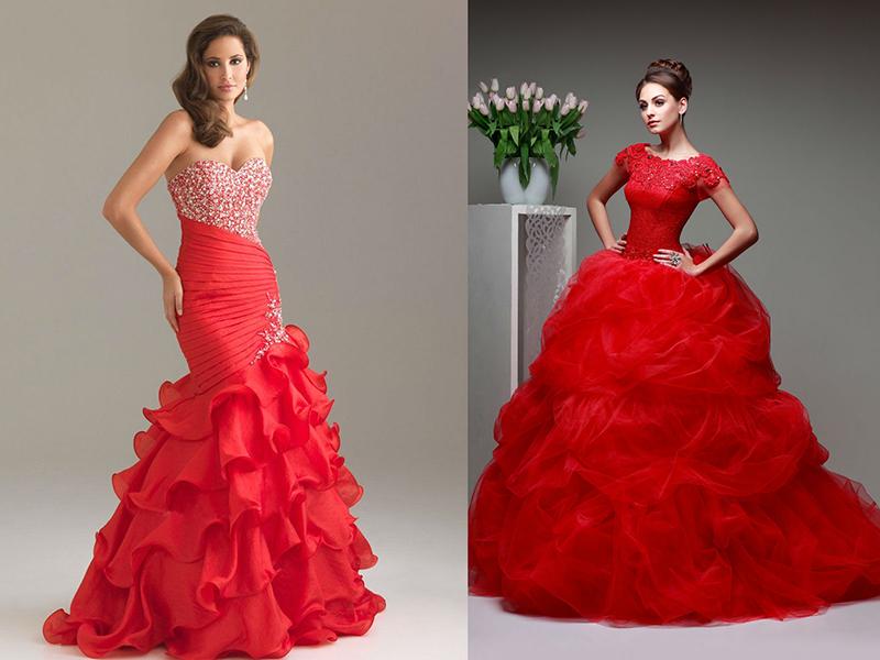 Красное пышное платье свадебное