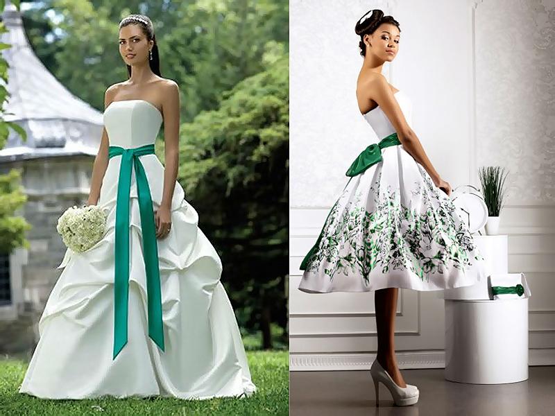 Белое платье с зеленым поясом