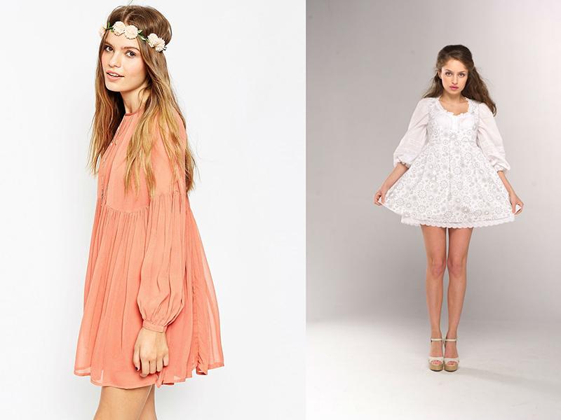 Платье свободное с завышенной талией