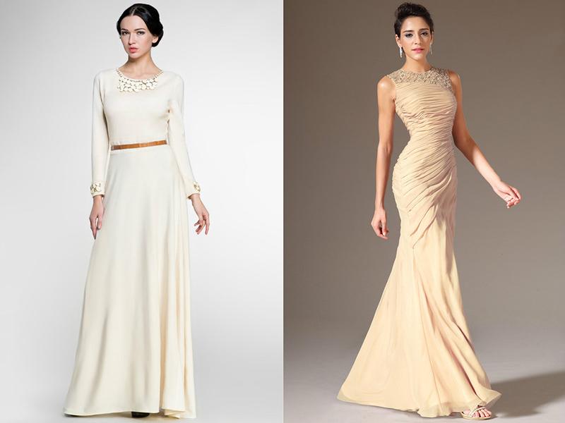 Вечернее платье в пол кремовое
