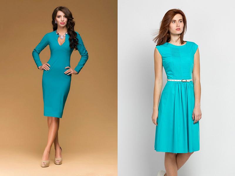 Бирюзовый цвет платье сочетается с