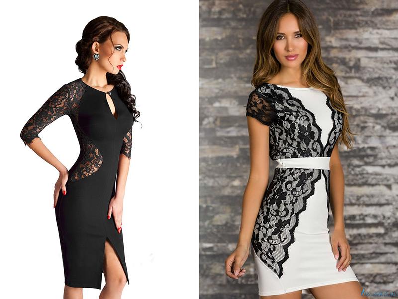 Платья с вставками из гипюра для полных