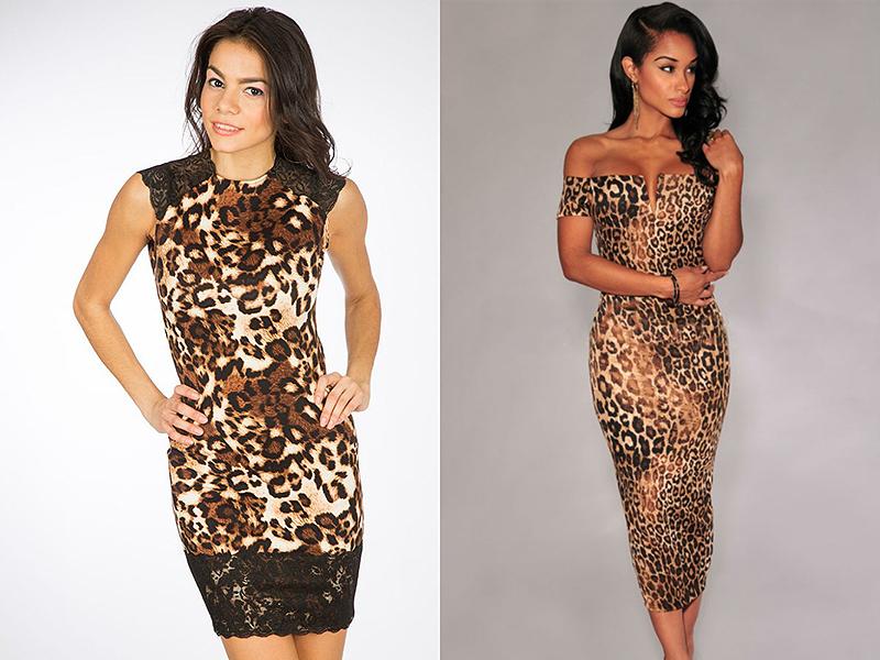 Леопардовое модное платье
