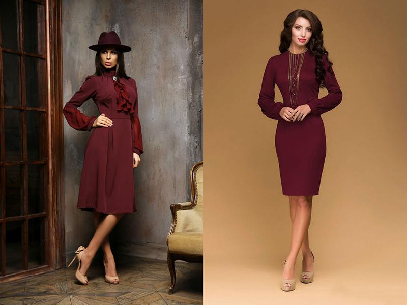 Бордовое серьги с платьем