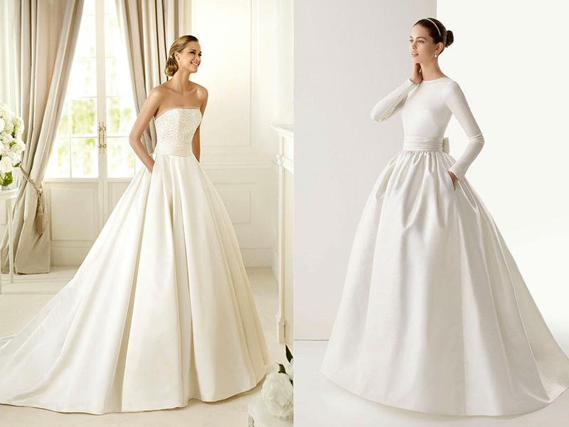 Образы невест в атласных платьях